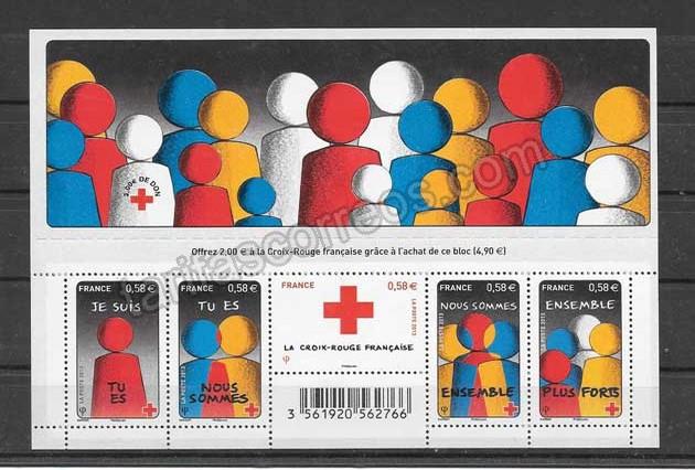 valor y precio Colección sellos  hojita homenaje a la solidaridad
