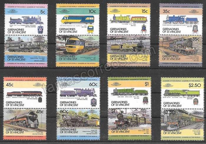 Filatelia trenes St Vicent 1984