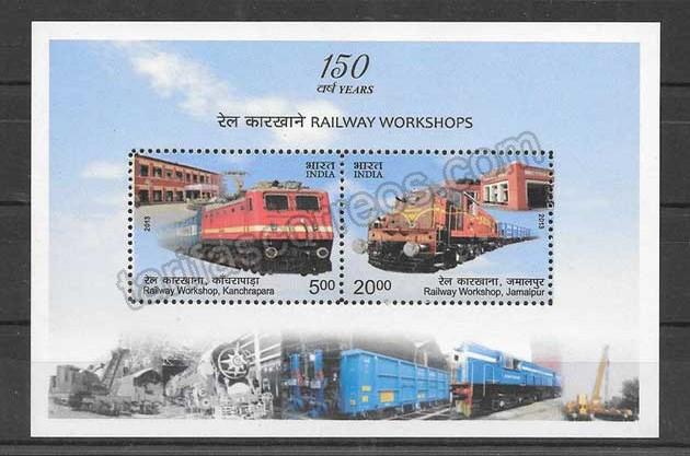 valor y precio Colección sellos transporte ferroviario de India 2013