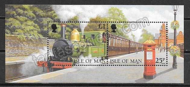 enviar paquetes desde - valor sellos trenes Isla de Man 1998