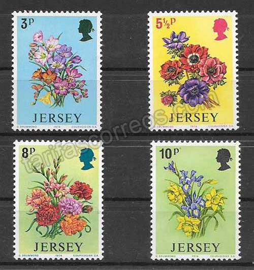 Sellos flora de Jersey 1974