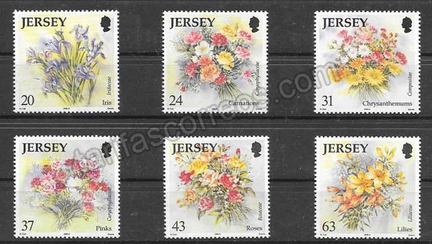 Colección Sellos  flora de Jersey 1998