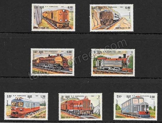 valor y precio Colección sellos locomotoras de Kampuchea 1984