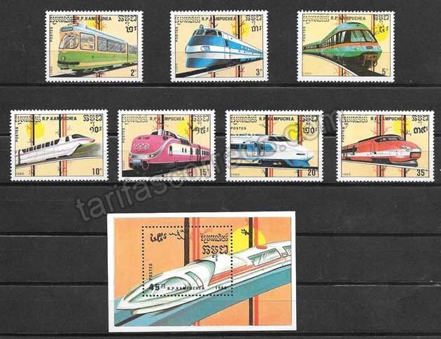 valor y precio Colección sellos trenes de nacionalidades diversas