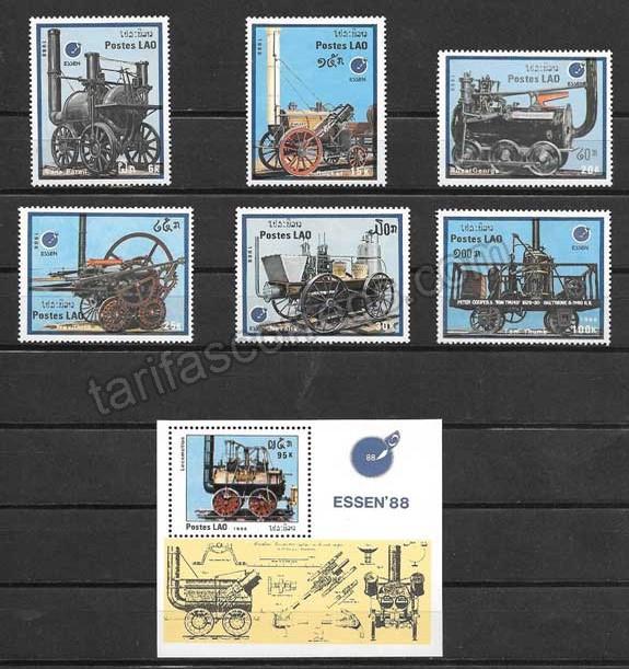 valor y precio Colección sellos transporte ferroviario antiguo de Laos 1988