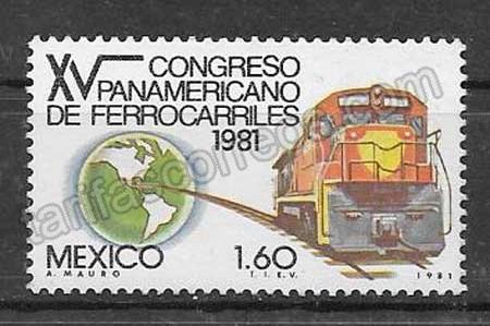 enviar paquetes desde - valor sellos colección trenes México 1981