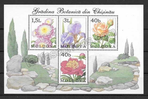 Filatelia sellos hojita flores de Moldavia
