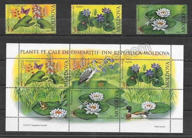 Sellos Filatelia flores de Moldavia 2008