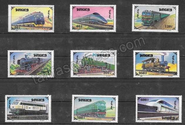 valor y precio Colección sellos locomotoras  diversas de Mongolia