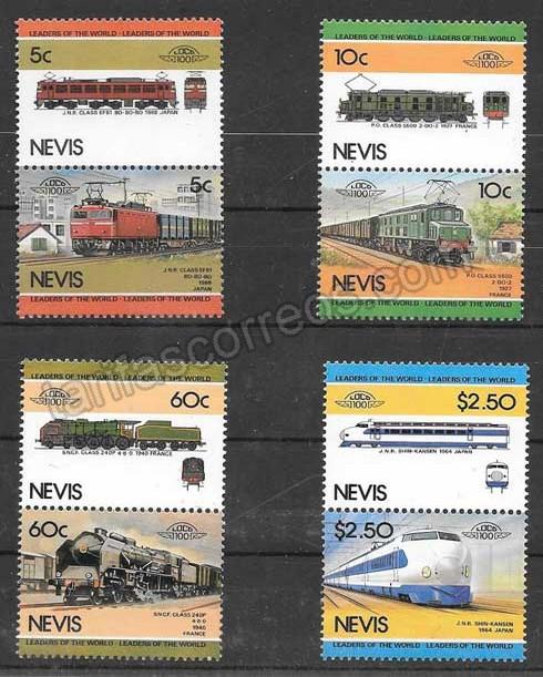 Filatelia trenes Nevis 1984