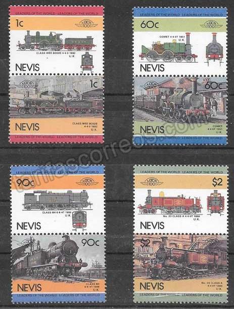 enviar paquetes desde - valor sellos colección trenes Nevis 1985