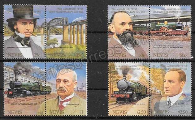 valor y precio Colección sellos Nevis trenes 1985