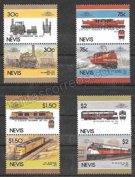 enviar paquetes desde - valor sellos trenes 1986 Nevis
