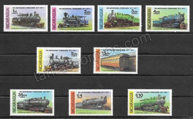 valor y precio Colección sellos transporte ferroviario Nicaragua 1978