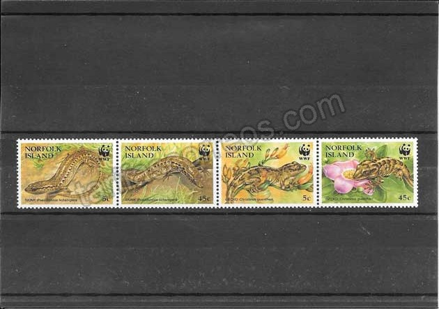valor y precio Colección sellos serie de reptiles protegidos.