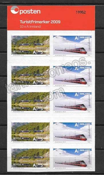 enviar paquetes desde - valor sellos filatelia carnet de trenes Noruega 2009