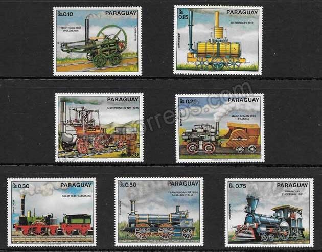 enviar paquetes desde - valor sellos locomotoras antiguas del Paraguay