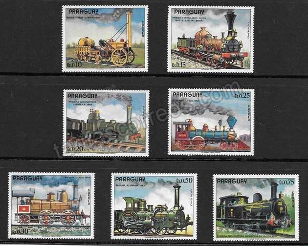 enviar paquetes desde - valor sellos colección locomotoras antiguas diversas 1972