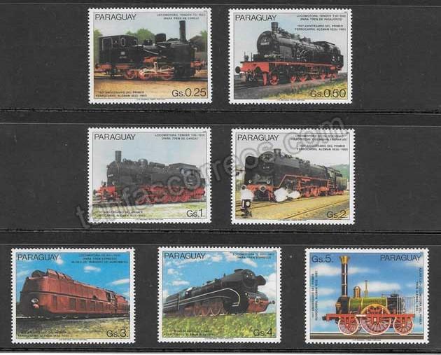 enviar paquetes desde - valor sellos colección transporte ferroviario de Paraguay
