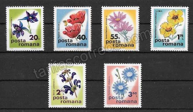 Sellos flores de Rumanía 1975