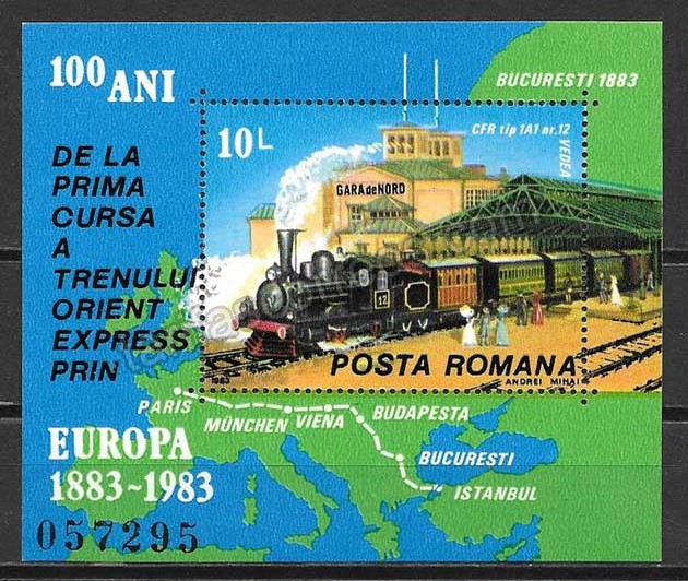 enviar paquetes desde - valor sellos tren Rumanía 1983