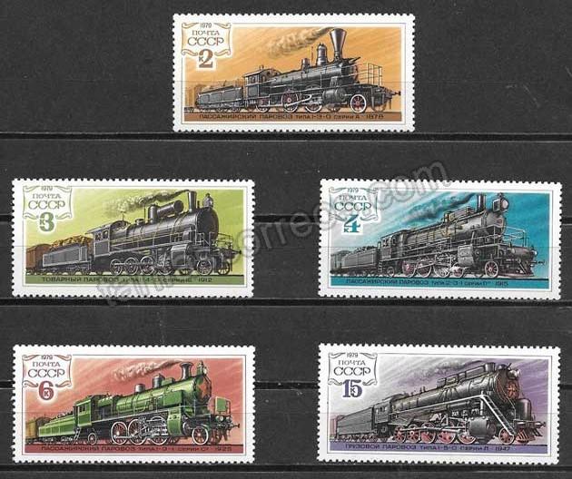 valor y precio Colección sellos Rusia locomotoras 1979
