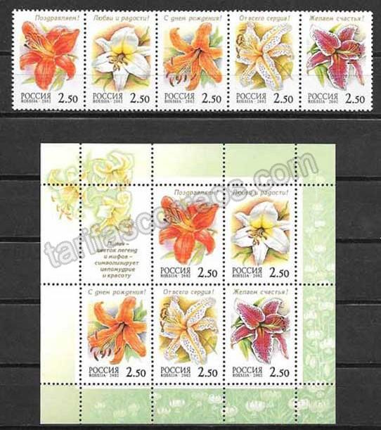 Colección sellos flora de Rusia 2002