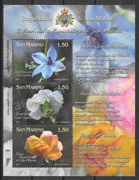 enviar paquetes desde - valor sellos flora San Marino 2011