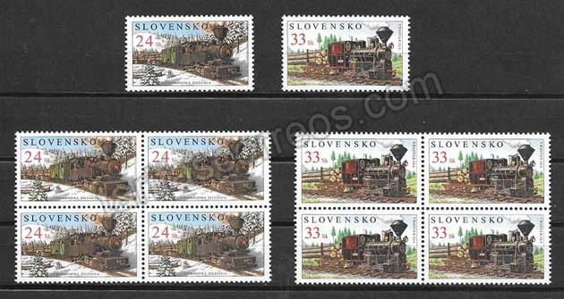 enviar paquetes desde - valor sellos de trenes de Eslovaquia 2005