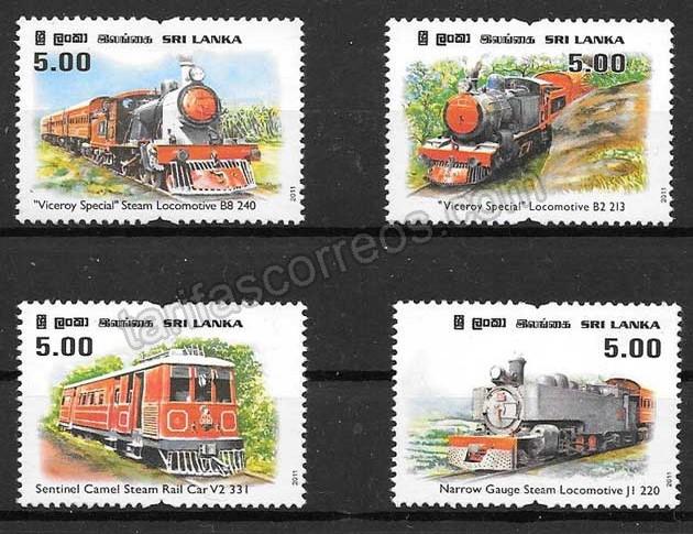 Filatelia trenes Sri Lanka 2011