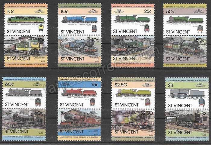 enviar paquetes desde - valor sellos St Vincent 1983 trenes