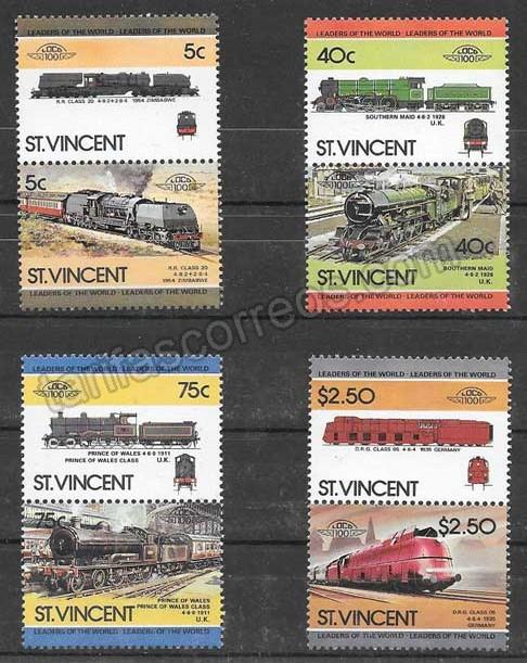 enviar paquetes desde - valor sellos trenes 1984 St Vincent