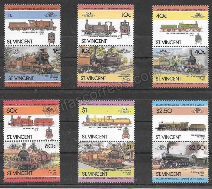 enviar paquetes desde - valor sellos trenes St Vincent 1985