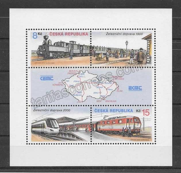 enviar paquetes desde - valor sellos trenes transporte ferroviario de Chequia.