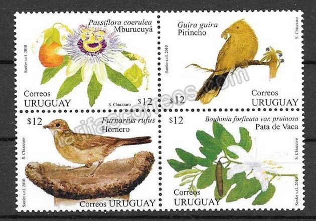 valor y precio Colección sellos fauna y flora Uruguay - primavera