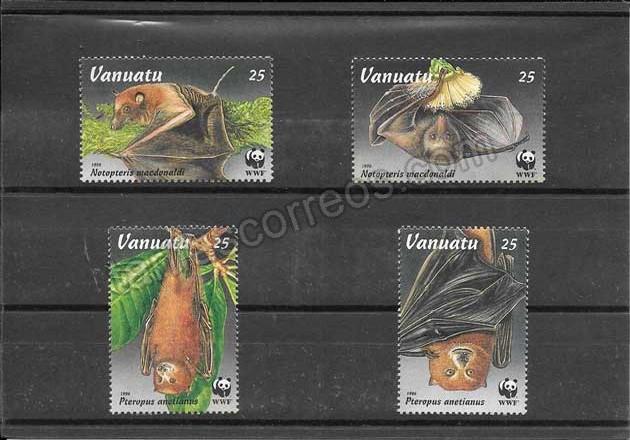 Filatelia sellos serie de fauna murciélagos