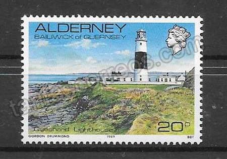 enviar paquetes desde - valor sellos faro de Alderney 1989