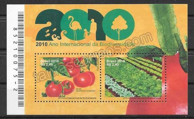 enviar paquetes desde - valor sellos Brasil 2010 frutas