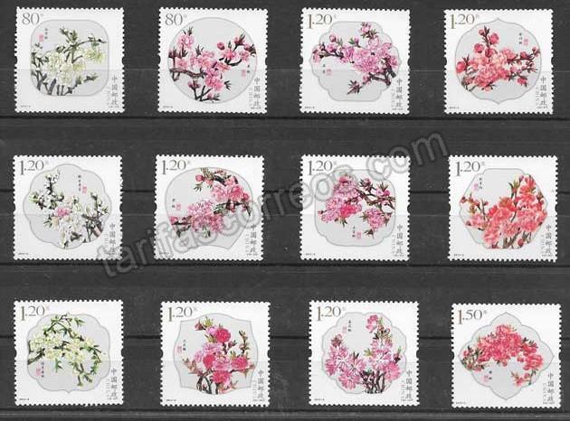 Sellos Filatelia flores diferentes china 2013