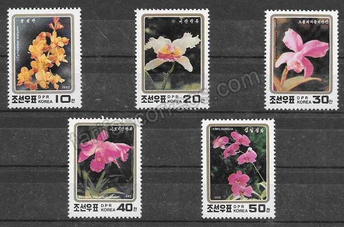 Filatelia flores Corea del Norte 1993