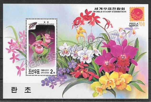 enviar paquetes desde - valor sellos Corea del Norte Orquídeas 2001