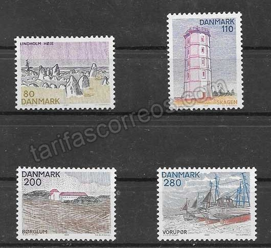 enviar paquetes desde - valor sellos paisajes Dinamarca 1980