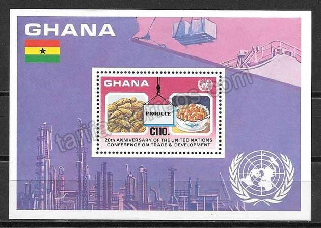 valor y precio Colección sellos Ghana frutos