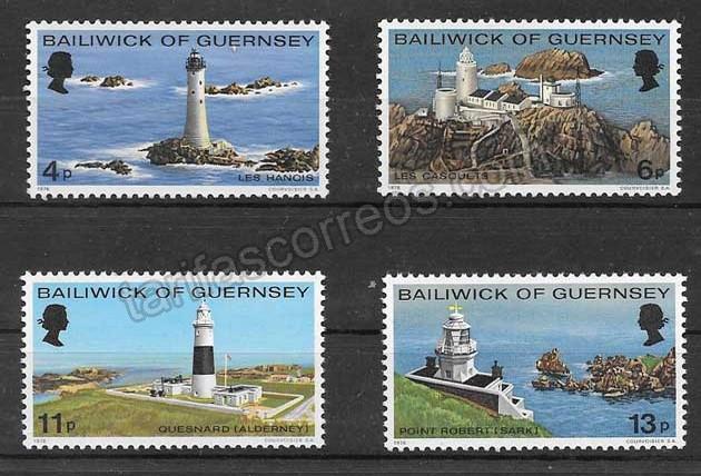 valor y precio Colección sellos faros de la Isla de Guersey