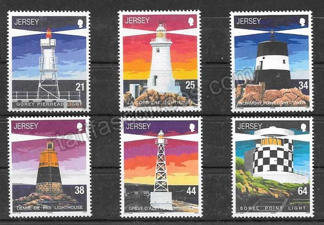 valor y precio Colección sellos faros Jersey 1999