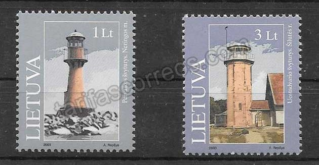 enviar paquetes desde - valor sellos de Lituania faros 2003
