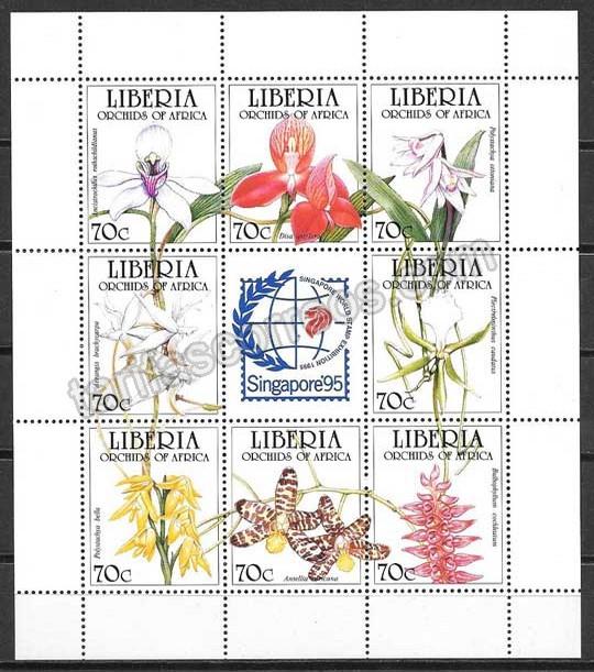 enviar paquetes desde - valor sellos flora Liberia 1995