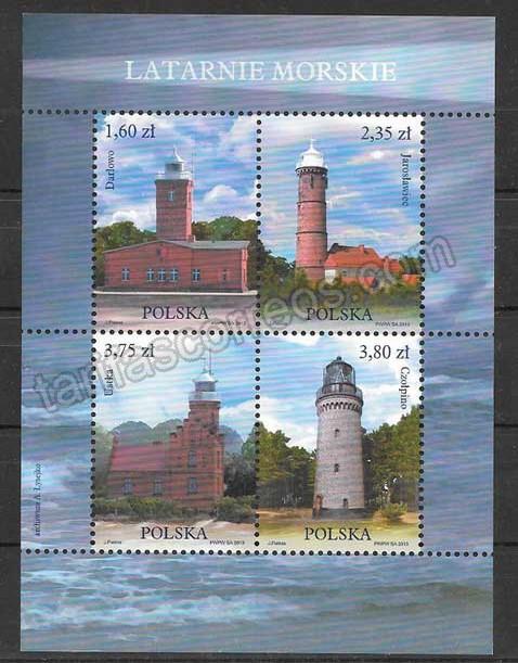 valor y precio Colección sellos  faros del 2013 Polonia
