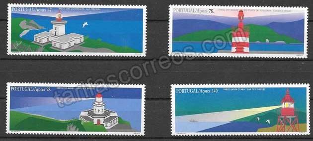 valor y precio Colección sellos faros Portugal -azores 1996