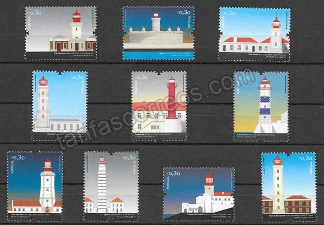 valor y precio Colección sellos faros Portugal 2008